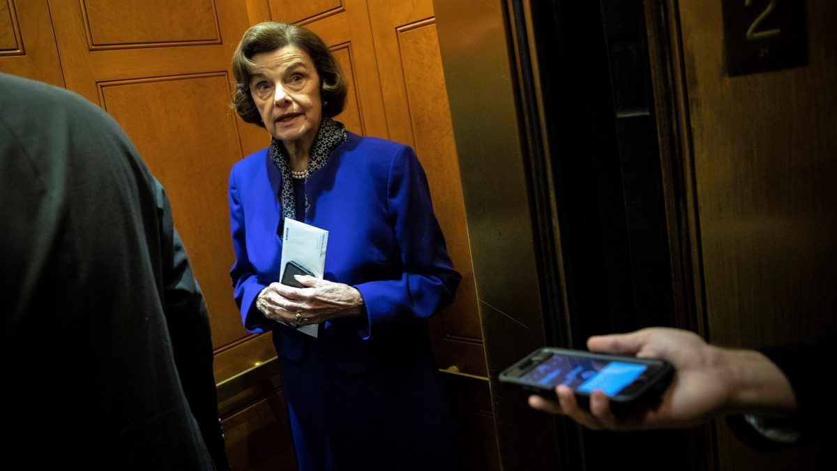 WASHINGTON, DC - SEPTEMBER 24: Sen. Dianne Feinstein (D-CA) gets into an elevator following a vote on Capitol Hill, September 24, 2018 in Washington, DC. Christine Blasey Ford, who has accused Kavanaugh of sexual assault, has agreed to testify before the Senate Judiciary Committee on Thursday.