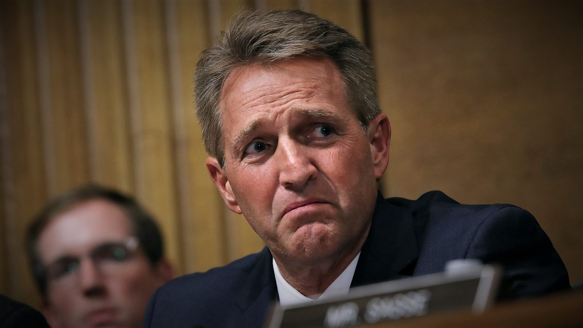 WASHINGTON, DC - SEPTEMBER 27: Senate Judiciary Committee member Sen. Jeff Flake (R-AZ) questions Judge Brett Kavanaugh during his Supreme Court confirmation hearing in the Dirksen Senate Office Building on Capitol Hill September 27, 2018 in Washington, DC. Kavanaugh was called back to testify about claims by Christine Blasey Ford, who has accused him of sexually assaulting her during a party in 1982 when they were high school students in suburban Maryland.