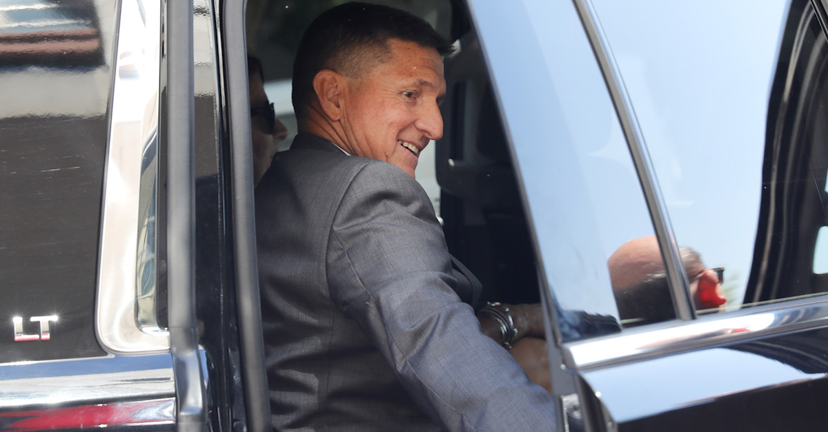 WASHINGTON, DC - July 10: Michael Flynn, former National Security Advisor to President Donald Trump, departs the E. Barrett Prettyman United States Courthouse following a pre-sentencing hearing July 10, 2018 in Washington, DC. Flynn has been charged with a single count of making a false statement to the FBI by Special Counsel Robert Mueller. (Photo by Aaron P. Bernstein/Getty Images)