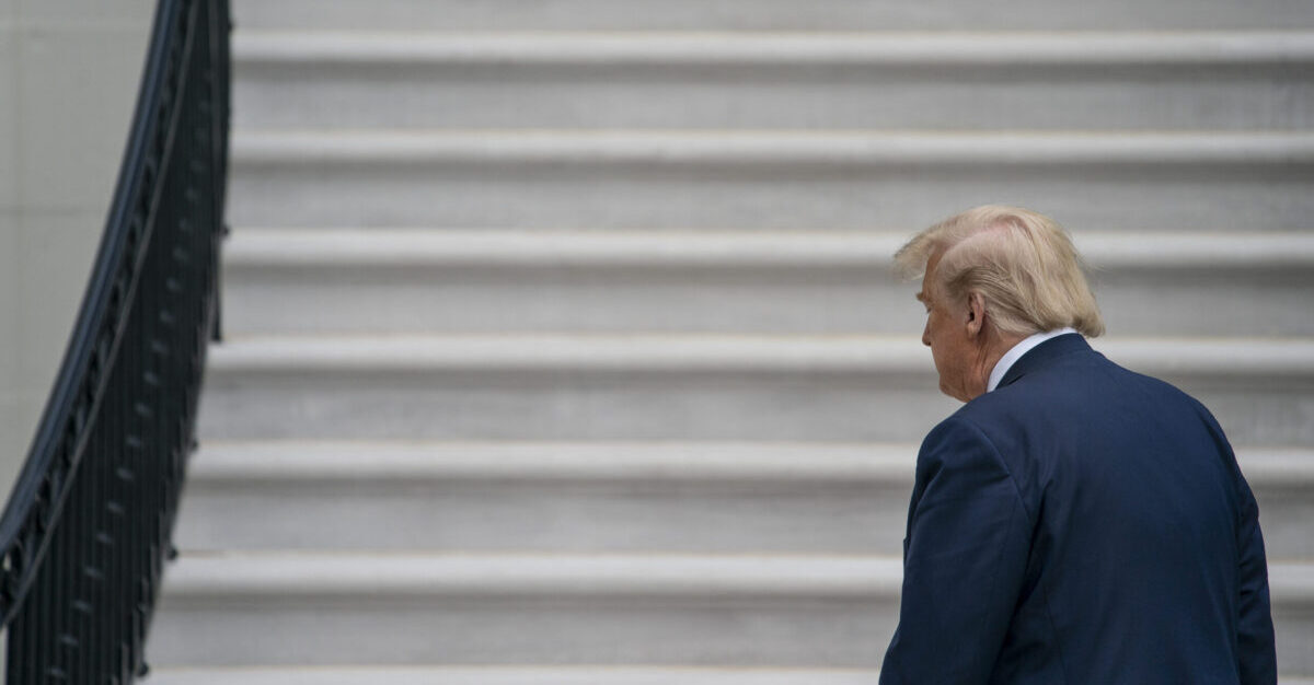 WASHINGTON DC- MAY 14 U.S. President Donald Trump walks to the White House residence after exiting Marine One on the South Lawn of the White House