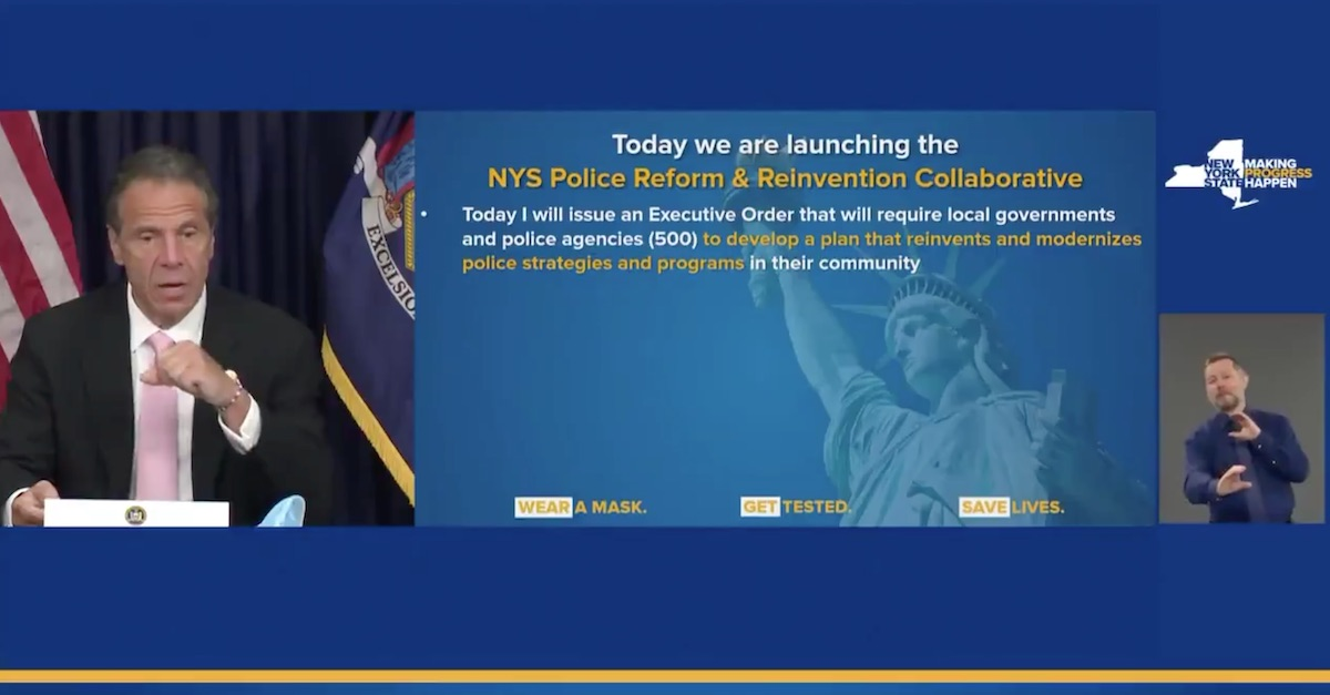 NY Gov. Cuomo Links Municipal Funding to Police Reforms to Fight Racism