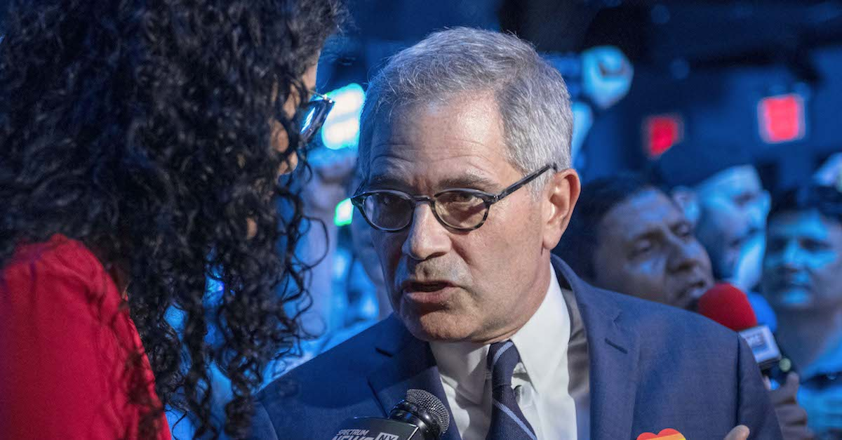 NEW YORK, NY - JUNE 25: Philadelphia District Attorney Larry Krasner speaks to a reporter at of the election party of public defender Tiffany Caban moments before she claimed victory in the in the Queens District Attorney Democratic Primary election, June 25, 2019 in the Queens borough of New York City. Running on a progressive platform that includes decriminalizing sex work and closing the Rikers Island jail, Caban narrowly defeated Queens Borough President Melinda Katz and scored a shocking victory for city's the progressive grassroots network and criminal justice movement (Photo by Scott Heins/Getty Images)