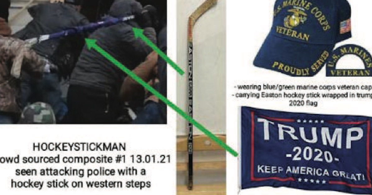 Images of Michael Joseph Foy carrying a hockey stick outside the Capitol on January 6th.