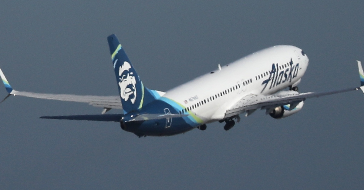 Unrelated Alaska Airlines flight from from San Francisco International Airport on April 24, 2019.