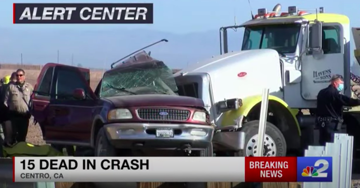 At least 15 dead after SUV crashes into truck in California