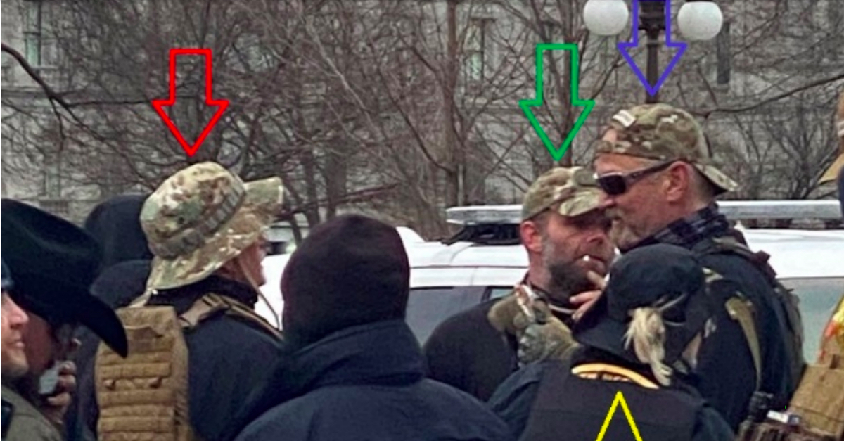 Kelly Meggs and several other alleged Oath Keepers gathered at the Capitol on Jan. 6.