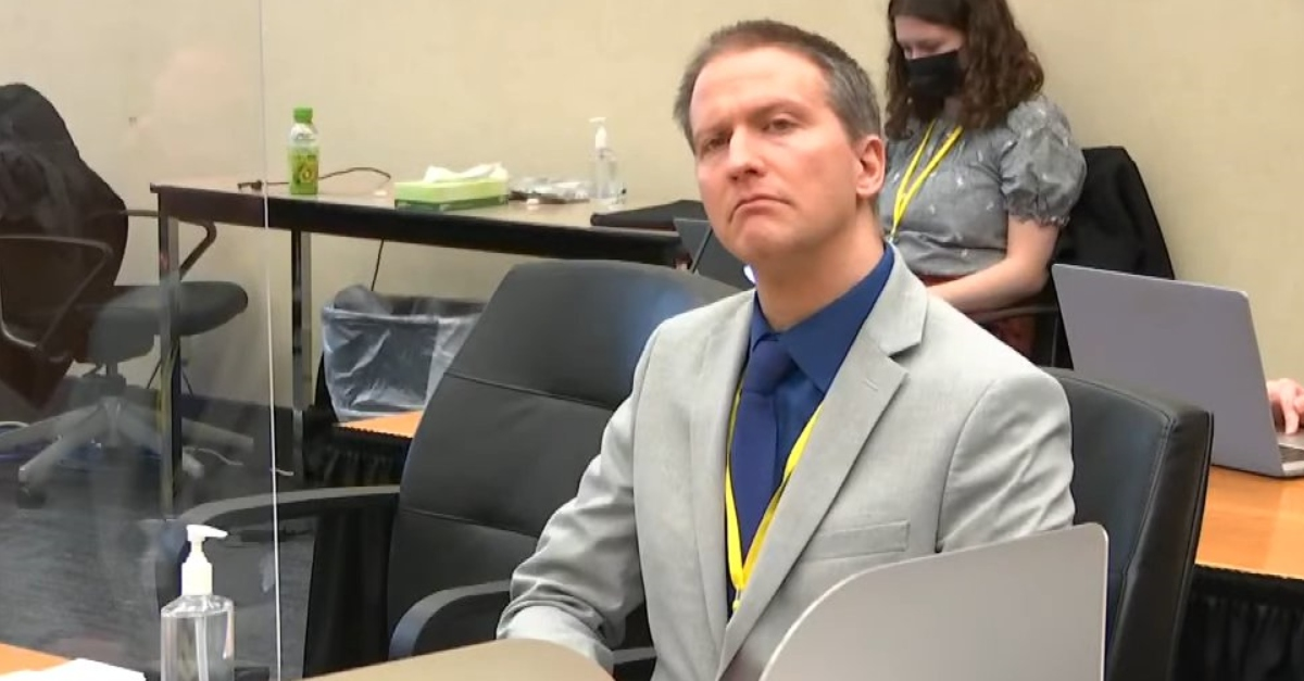 Image: Derek Chauvin sits in court during his trial on April 19, 2021.