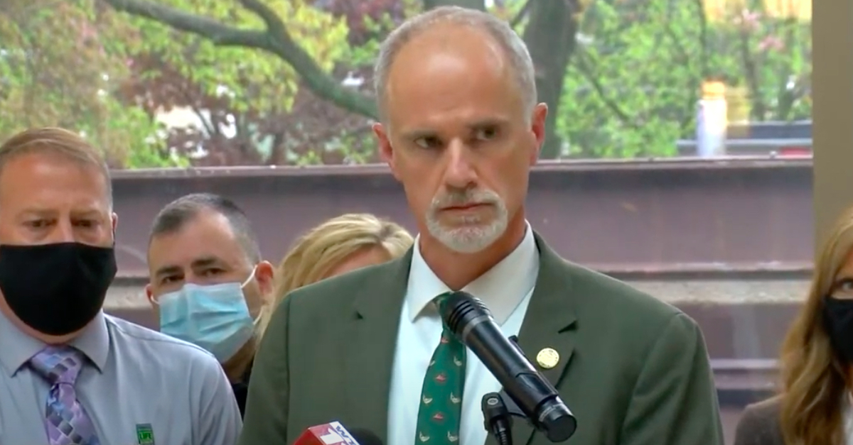 Wood County Prosecutor Paul Dodson speaking to reporters during Thursday's press conference about charging related to Stone Foltz's death.