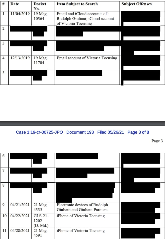 Rudy Giuliani and other warrants pertaining to the case of Lev Parnas case