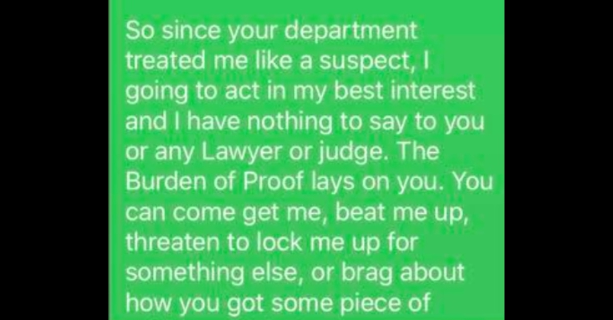 Excerpt of text message Shannon Ryan claimed to write to an FBI agent.