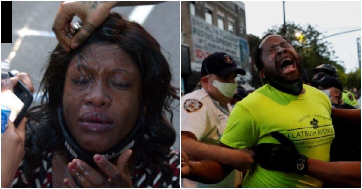 Black lawmakers after being pepper sprayed by NYPD cops