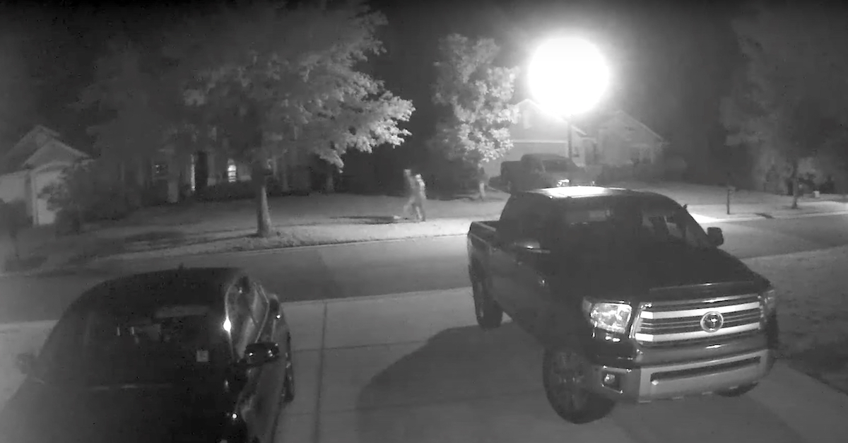 A still frame captured from a neighborhood surveillance camera shows what prosecutors and law enforcement authorities believe to be alleged murderer Aiden Fucci and murder victim Tristyn Bailey walking together shortly before Bailey's death.
