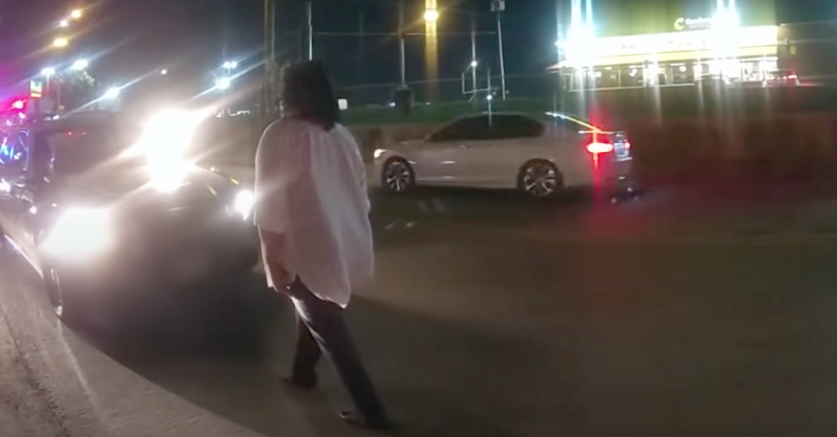 """Angela West is seen on body camera video walking """"heel to toe"""" at an officer's instruction."""