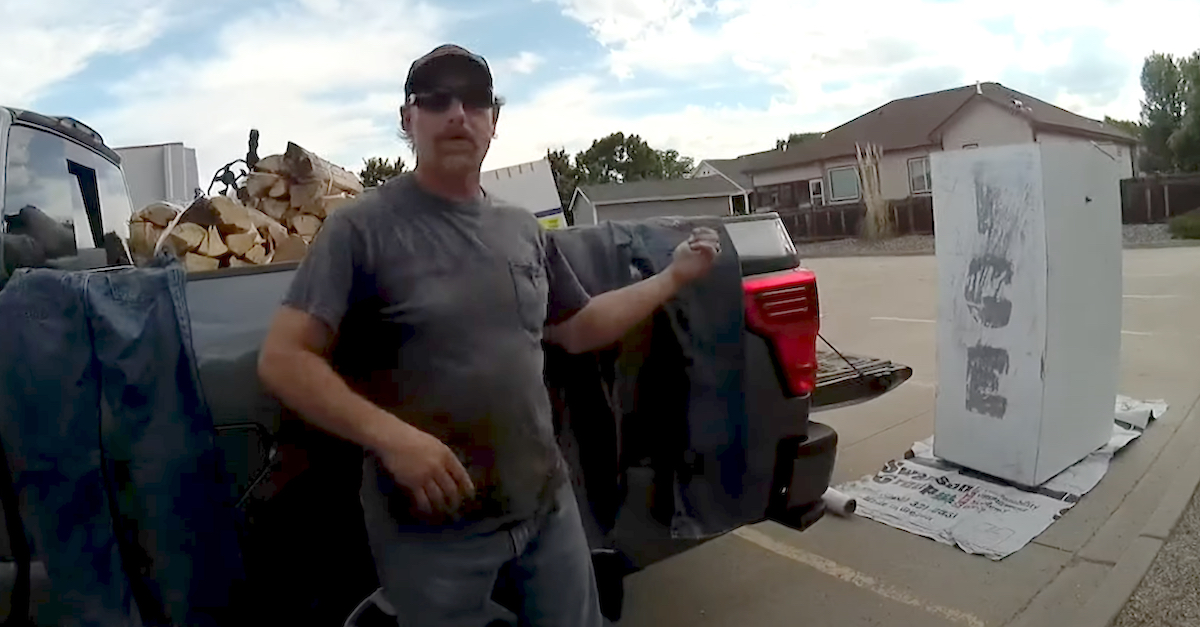 Body camera video shows Jay Hamm pointing to the ice cooler he says he was going to paint in a vacant parking lot in Loveland Colo.
