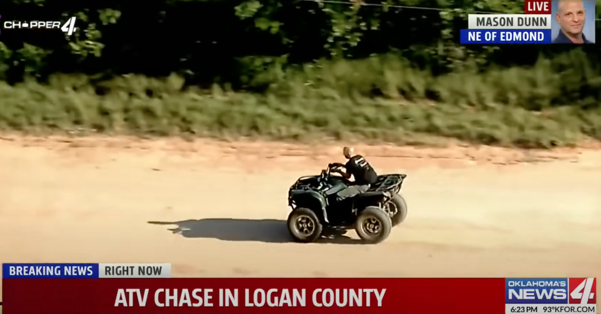 A KFOR-TV screengrab shows Lucas Strider driving an allegedly stolen ATV. The video suggests he was handcuffed, as he appears to be piloting the four-wheeler using only the right handlebar.