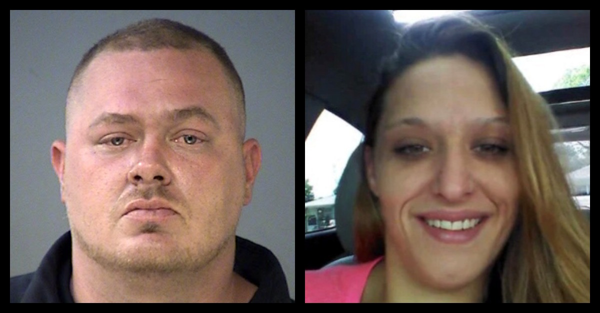 Riki Eaton (L) appears in a mugshot; he is accused of killing Jenny Boltinghouse (R)