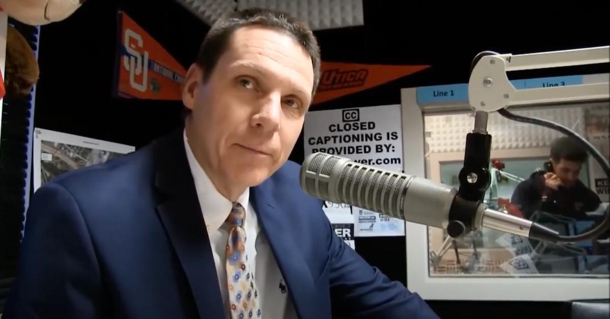 Oneida County, N.Y. District Attorney Scott McNamara appears on a local radio talk show on WIBX radio in 2015.