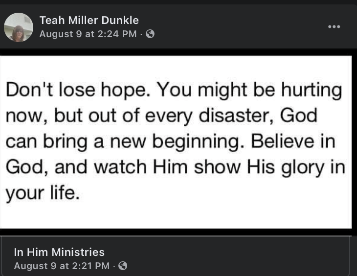 image of a post on Teah Dunkle's Facebook page