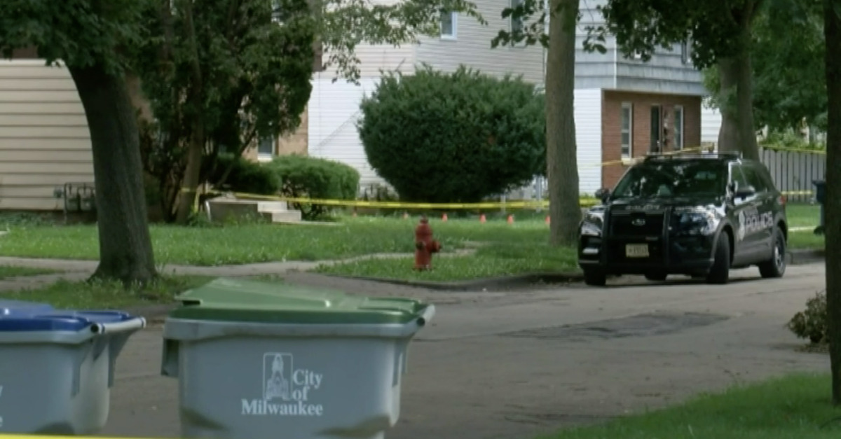 The scene outside of a hammer attack in Milwaukee