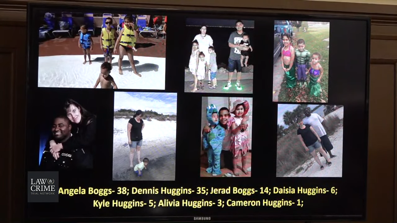 Pictures of the Huggins family shown in court.