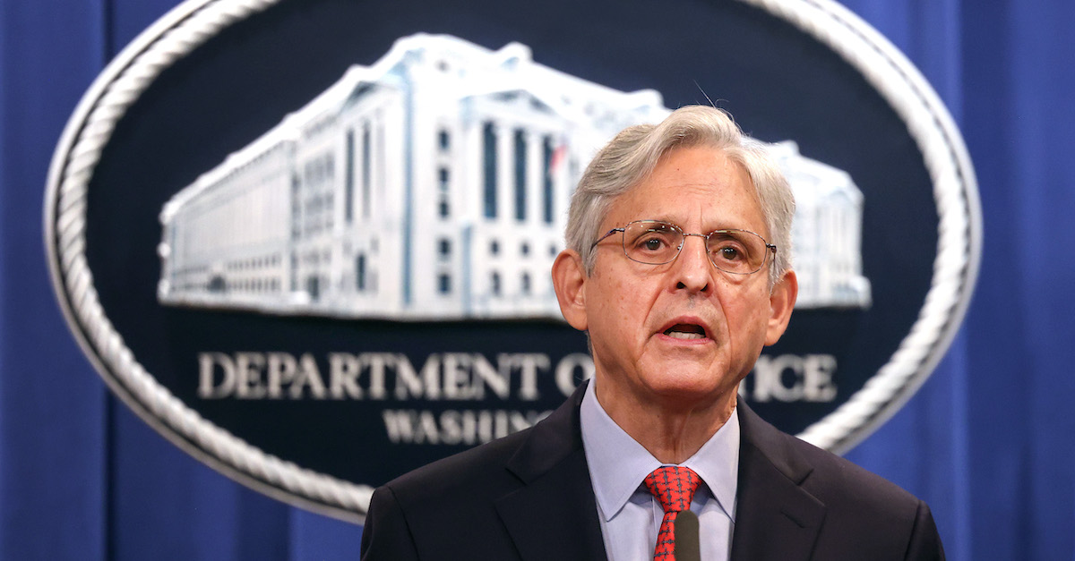 Attorney General Merrick Garland appears at an August 5, 2021 news conference in Washington, D.C.