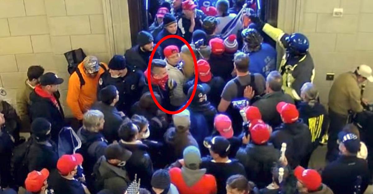 Surveillance images show Capitol siege defendant Mick Chan entering the U.S. Capitol on Jan. 6th.