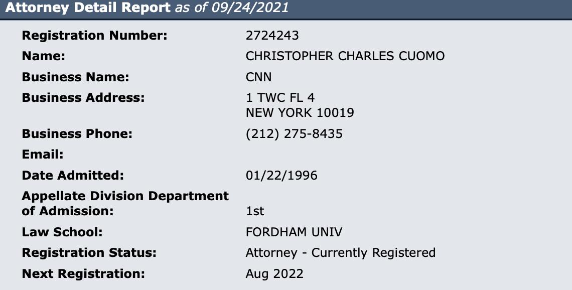 Chris Cuomo bar status