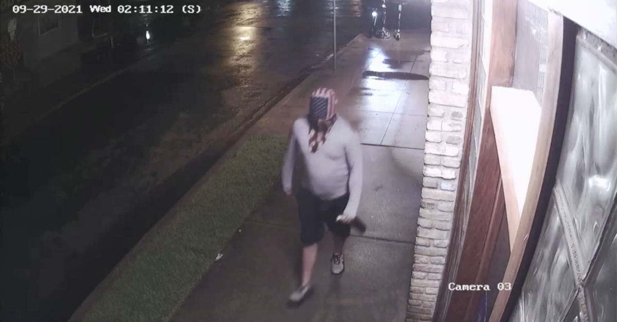 A vandal with a Molotov cocktail in Austin