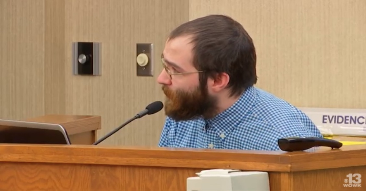 Aaron Lawson testifies in an Ohio courtroom, Feb. 27, 2019 (courtesy YouTube/WOWK 13 News)