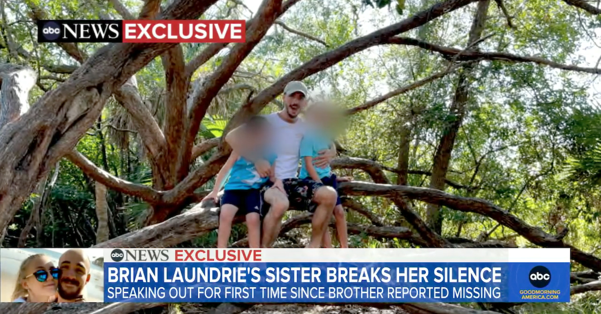 Cassie Laundrie told ABC News that this image shows Brian Laundrie camping at Fort De Soto in Florida on Sept. 6, 2021. She said it was the last time she saw him. (Image via screengrab from Good Morning America/ABC.)