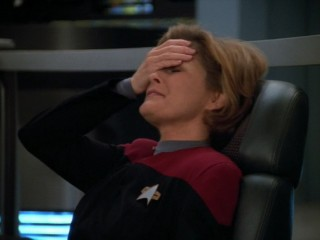 Every time a Star Trek episode fails the Bechdel Test, Captain Janeway does a facepalm