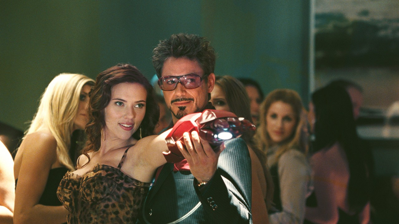 Scarlett Johansson and Robert Downey Jr. in Iron Man 2