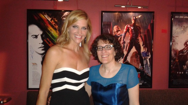 BSG's Tricia Helfer (along with Amber Benson) presented Jane Espenson (right) with the 2015 Etheria Inspiration Award.