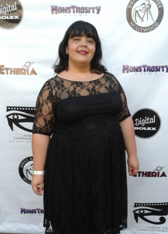 Yours truly at Etheria Film Night - posing on the red carpet, because that's what you do in L.A. It's a whole thing.