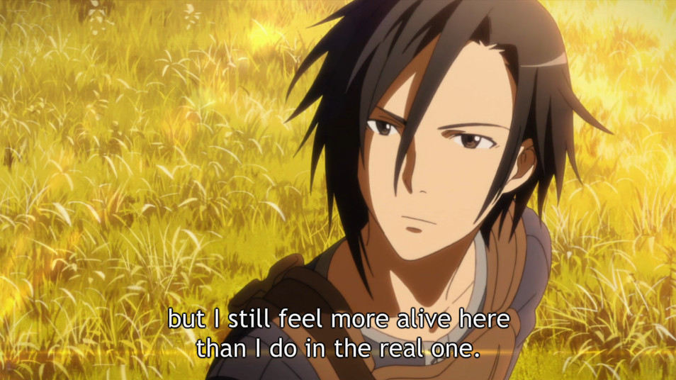 In Sword Art Online episode 1, Kirito expresses how he feels about SAO prior to becoming trapped in the game. [Aniplex, retrieved from Crunchyroll]