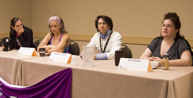 """Left to Right: Lee Blauersouth, Kris George, Anthony Padilla and Jen Manna make up three-fourths of the """"Beyond the Code of Conduct"""" panel on inclusivity at CONvergence 2015 in Minneapolis. Not pictured: Jackie Moore."""