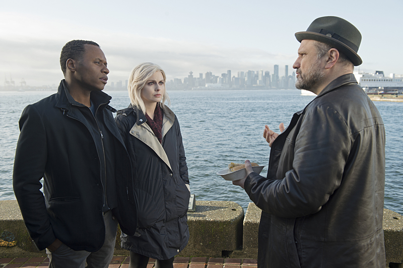 Malcolm Goodwin as Clive, Rose McIver as Liv and Enrico Colantoni as Detective Lou Benedetto