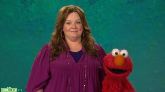 melissa mccarthy on sesame street with elmo
