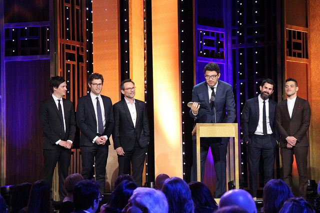 "image: Sarah E. Freeman/Grady College/Peabody Awards/Flickr This photo includes Writer/ Co-Executive Producer Kyle Bradstreet, Writer Adam Penn, Actor Christian Slater, Creator/Executive Producer/Writer/Director Sam Esmail, Executive Producer Chad Hamilton and Actor Rami Malek accepting the Peabody for ""Mr. Robot."" (Photo/Sarah E. Freeman/Grady College, freemans@uga.edu in New York City, Georgia, on Saturday, May 21, 2016)"