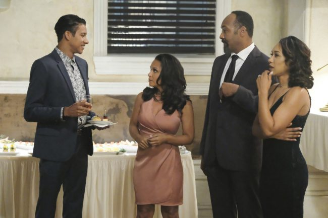 """image: Bettina Strauss/The CW Supergirl -- """"Crisis on Earth-X, Part 1"""" -- Pictured (L-R): Keiynan Lonsdale as Wally West, Danielle Nicolet as Cecile Horton, Jesse L. Martin as Detective Joe West, and Candice Patton as Iris West - © 2017 The CW Network, LLC. All Rights Reserved"""