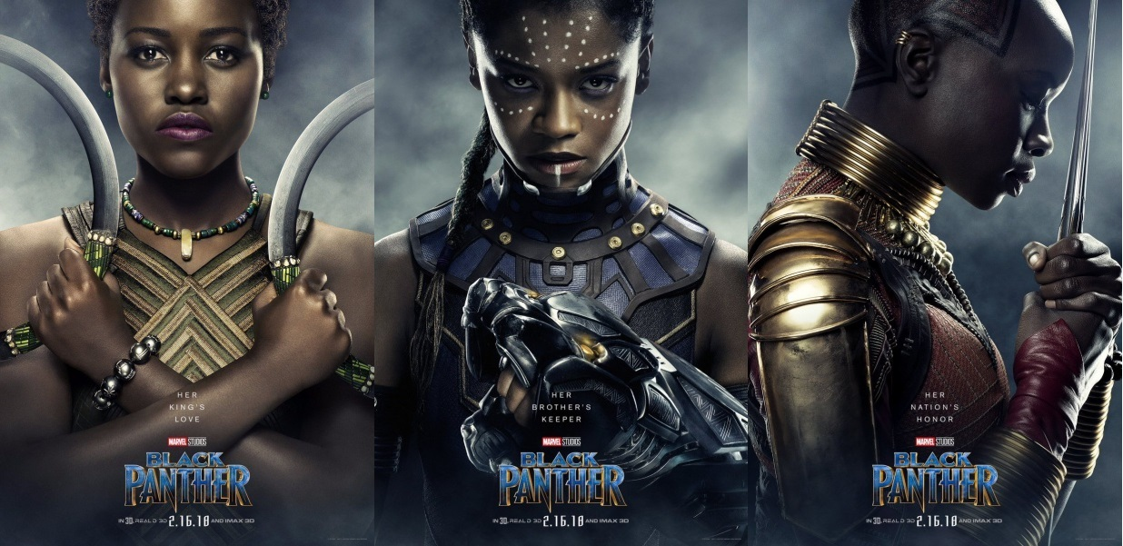 """The three """"Black Panther"""" character posters for Nakia, Okoye, and Shuri"""