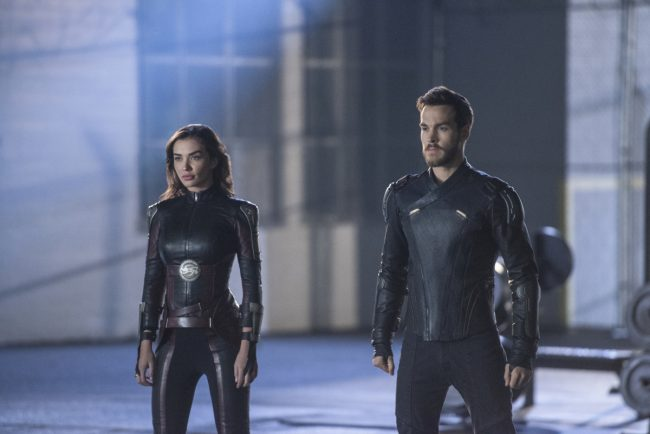 """image: Diyah Pera/The CW Supergirl -- """"Legion of Superheroes"""" -- Image Number: SPG310b_0196b.jpg -- Pictured (L-R): Amy Jackson as Imra Ardeen/Saturn Girl and Chris Wood as Mon-El -© 2018 The CW Network, LLC All Rights Reserved."""