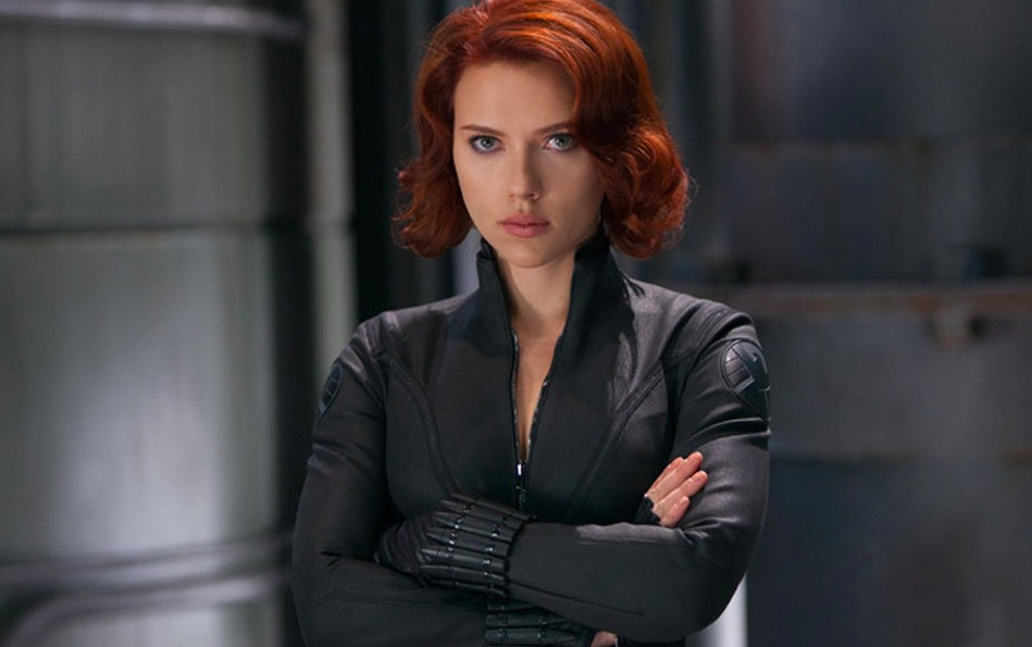 Black Widow with arms folded