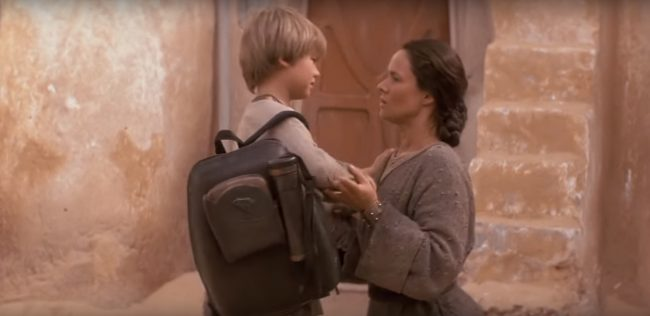 "image: screencap Jake Lloyd and Pernilla August as Anakin and Shmi Skywalker in ""Star Wars: The Phantom Menace"""