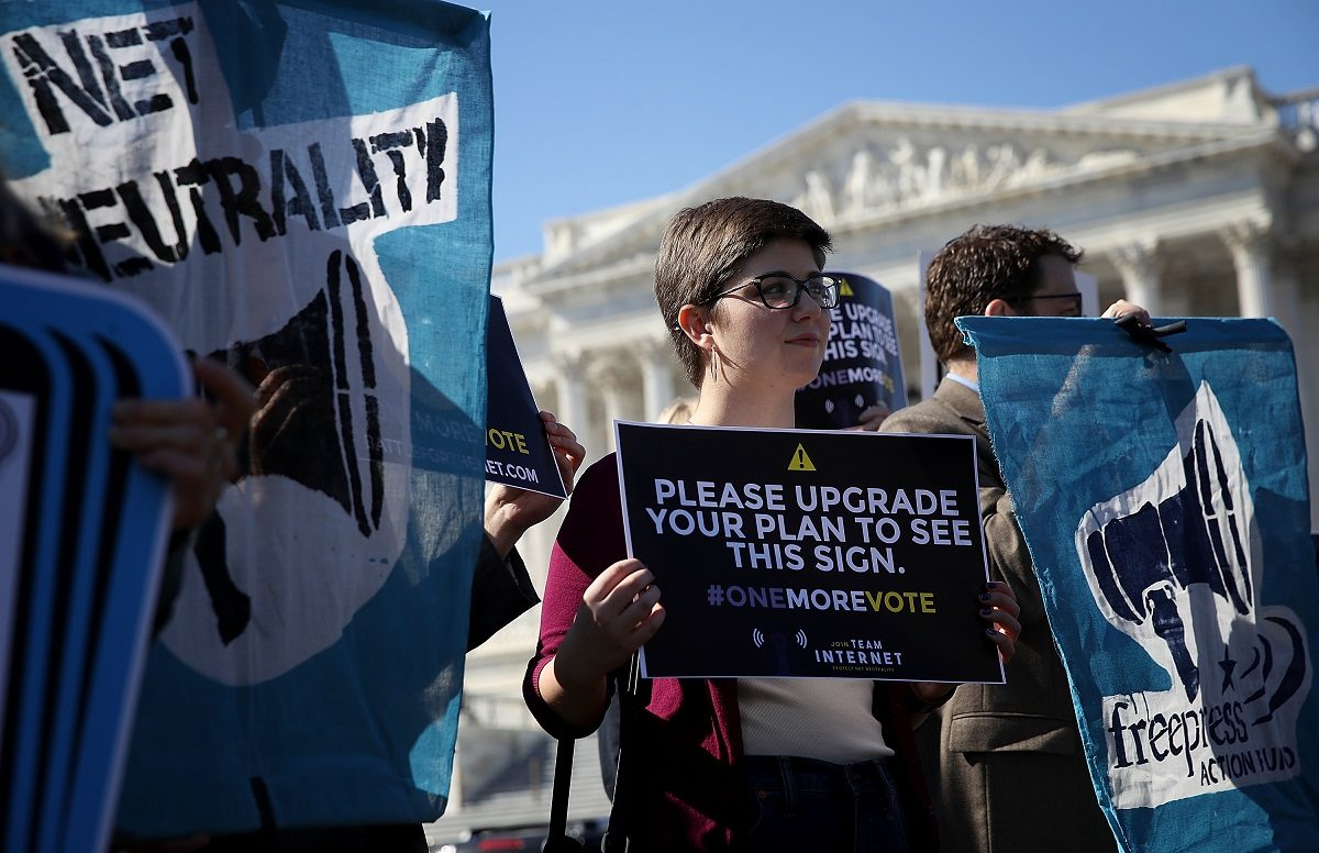 Protesters for an open internet and net neutrality (Photo by Win McNamee/Getty Images)