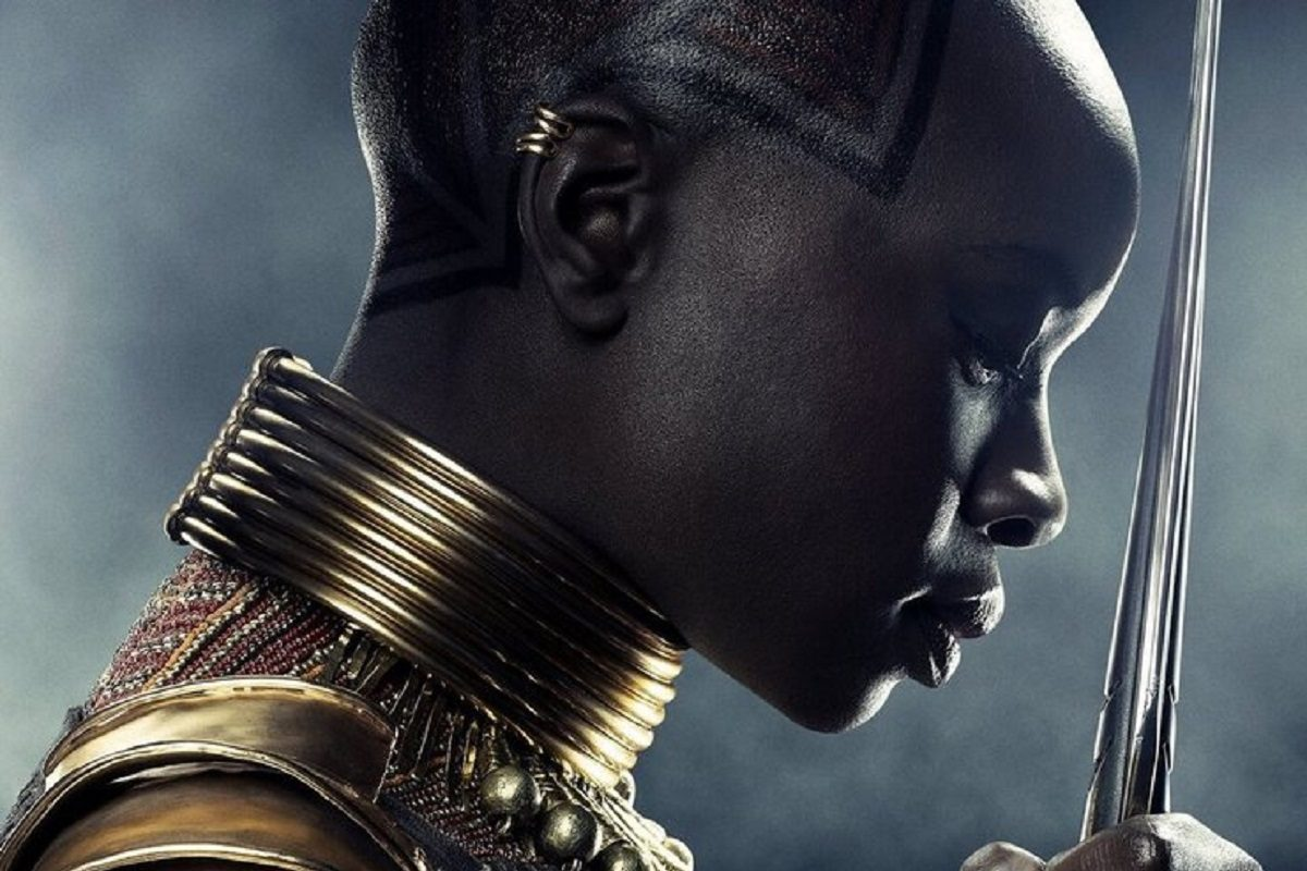 "Cropped poster of Danai Gurira as Okoye in Marvel's ""Black Panther"" Credit: Marvel and Disney"