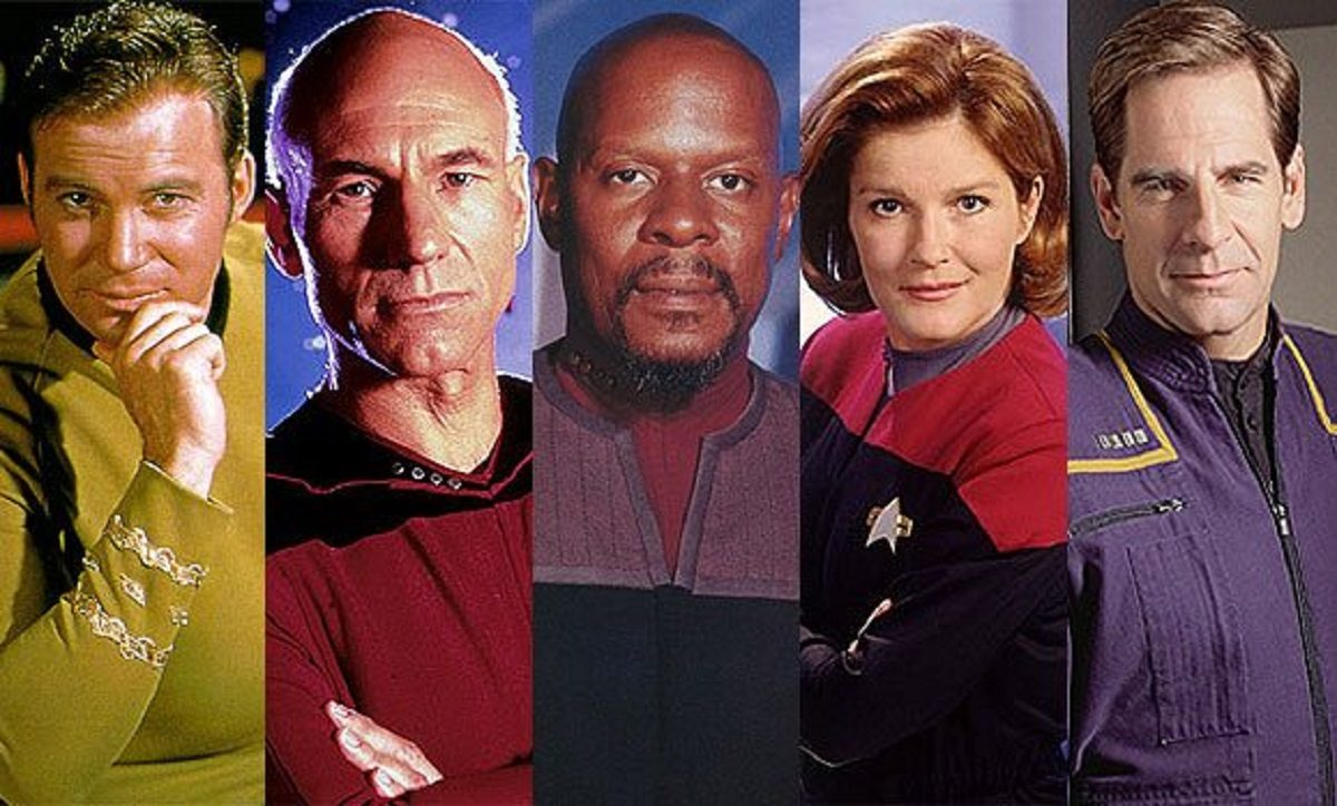 "Photos of the captains from ""Star Trek"" Credit: CBS Television"