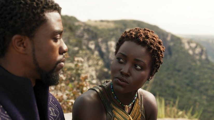 T'Challa and Nakia talk in Black Panther