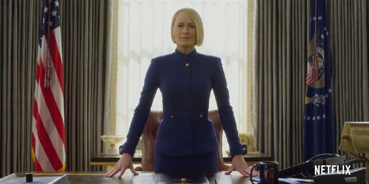 """Screengrab of Robin Wright as Claire Underwood in the teaser for """"House of Cards"""" Season 6"""