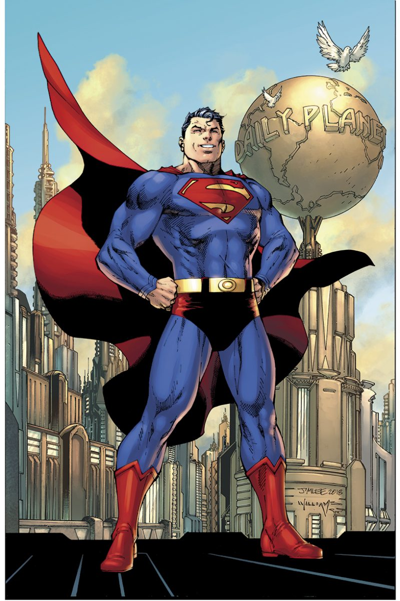 Full cover of Action Comics #1000 featuring Superman. Art by Jim Lee.
